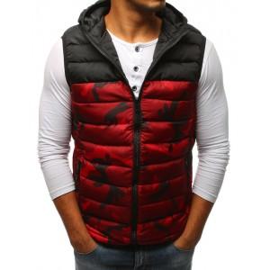Pánská červená army vesta s kapucí