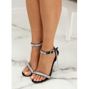 Originální dámské černé sandály s kamínky na průsvitné platformě