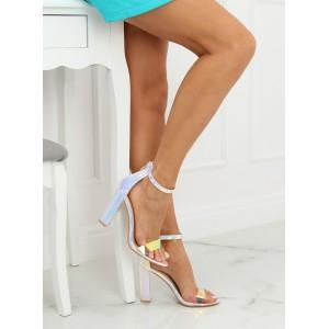 Stříbrné metalické dámské sandály na vysokém plném podpatku