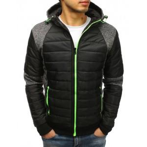 Pánská jarní bunda černé barvy s kapucí