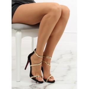 Luxusní dámské černé sandály na vysokém podpatku se zlatým páskem