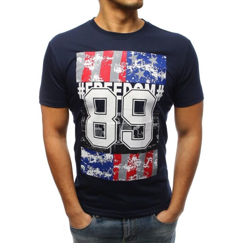 Stylové pánské tričko s potiskem modré barvě d7fb1ac7c4