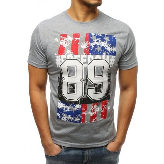 Šedé pánské tričko s potiskem USA ab4926a09c
