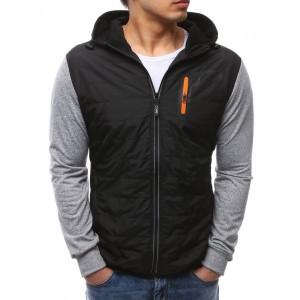 Pánská jarní bunda černé barvy se šedými rukávy