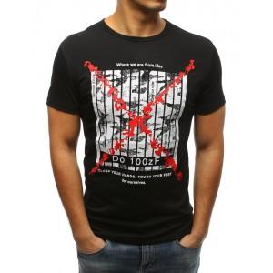 Černé pánské tričko s bílými pruhy červeným křížem
