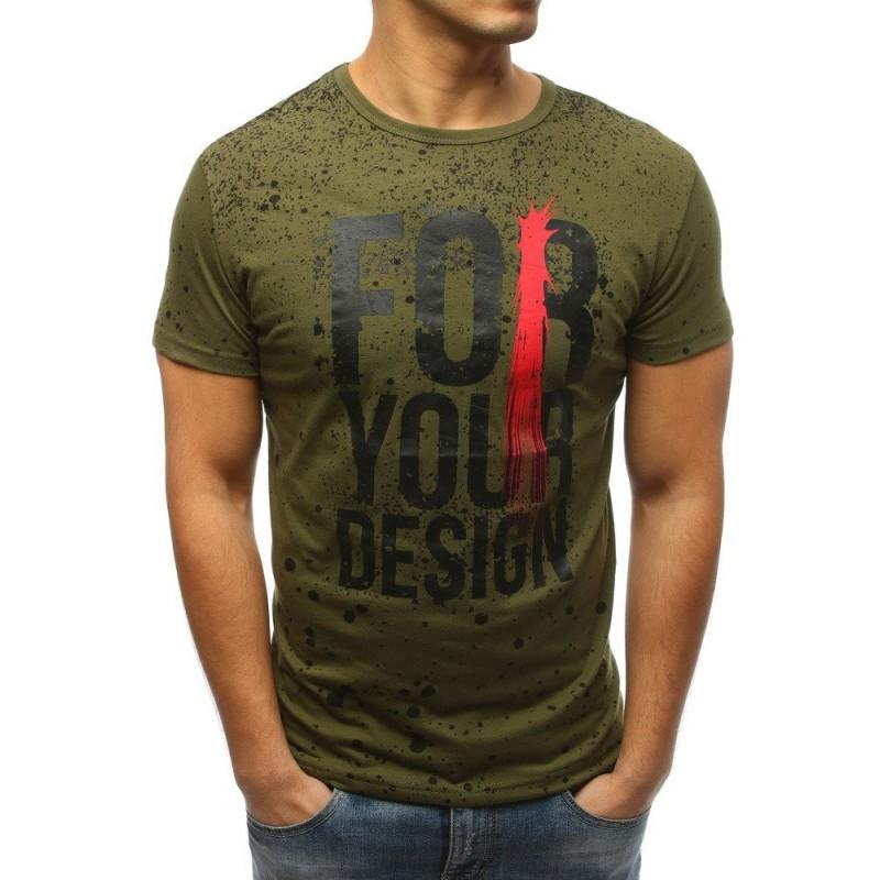 ed6024fce41 Pánské tričko tmavě zelené barvy s designovým nápisem a potiskem