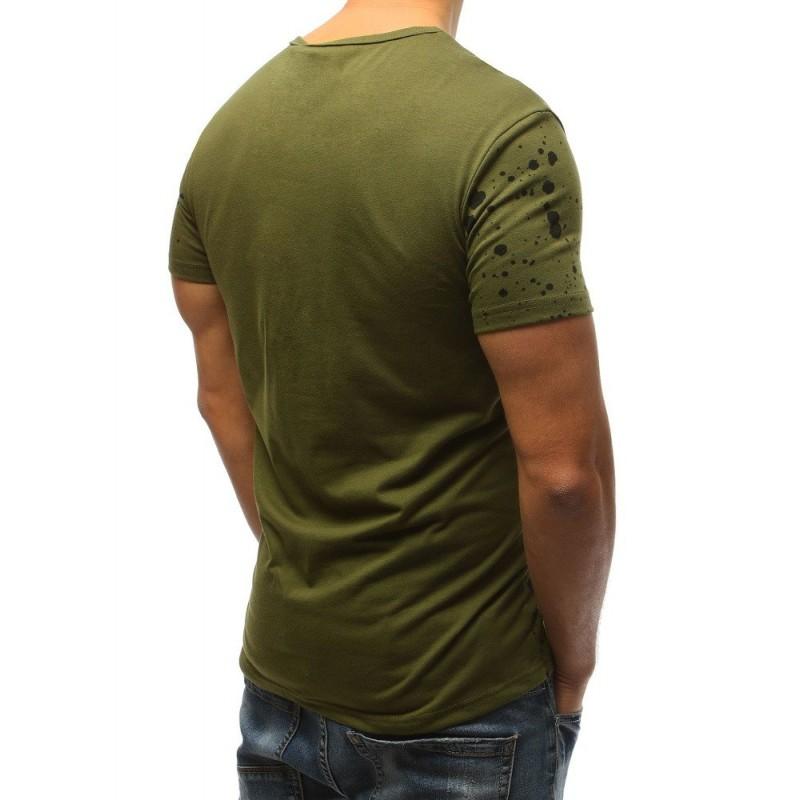 8ab15468e Pánské tričko tmavě zelené barvy s designovým nápisem a potiskem