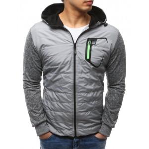 Jarní sportovní bunda pro pány šedé barvy