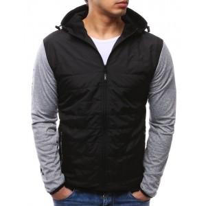Moderní přechodná bunda černé barvy s kapucí