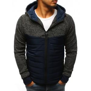 Tmavě modrá pánská jarní bunda s kapucí