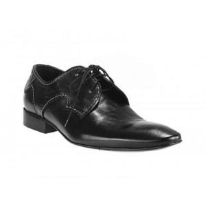 Tkaničkové pánské boty vyrobené z pravé hovězí kůže černé barvy