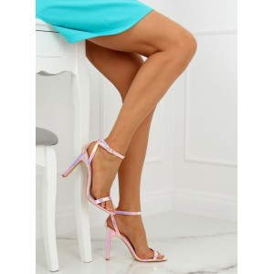 Růžové dámské sandály na vysokém podpatku