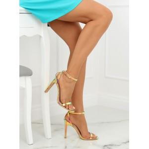Vysoké dámské sandály na ples v atraktivní zlaté barvě