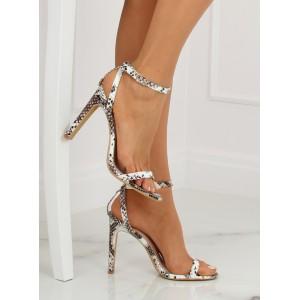Hnědé dámské plesové sandály s texturou hadí kůže