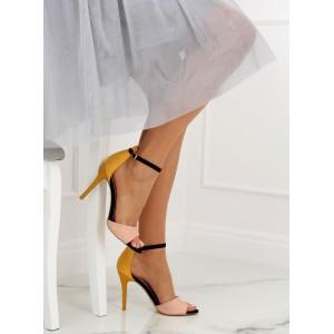 Dámské sandály na vysokém podpatku s černou sponou