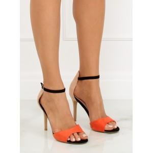 Dámské společenské sandály béžové barvy na vysokém podpatku