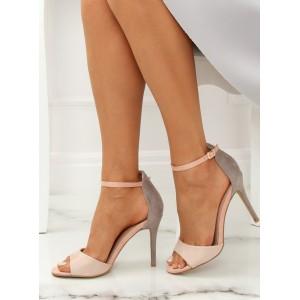Šedé dámské elegantní sandále na vysokém podpatku