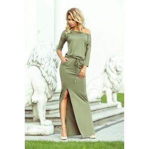 Zelené dlouhé maxi šaty s 3/4 rukávem a stahovacím pásem