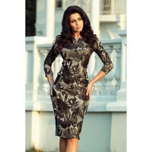 Elegantní dámské krátké šaty s listovým motivem v khaki barvě