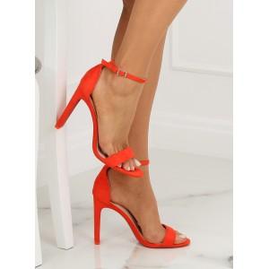 Vysoké dámské páskové sandály oranžové barvy