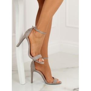 Letní dámské semišové sandály šedé barvy