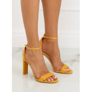 Dámské společenské sandály žluté barvy na vysokém podpatku