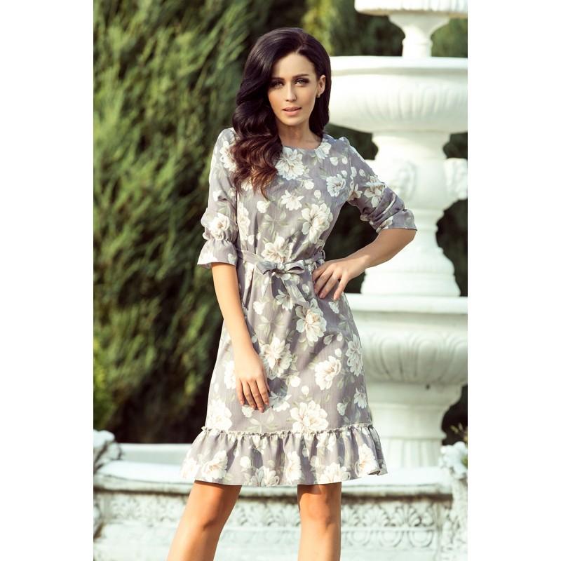 b019831df Elegantní šedé dámské šaty s volány a květinovým vzorem