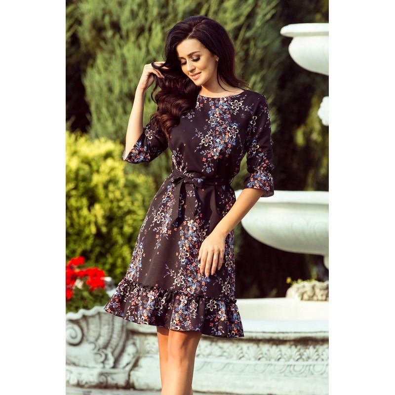 245105f66b90 Romantické dámské černé šaty s volány a květinami