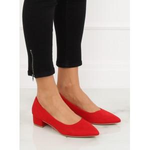 Klasické semišové lodičky na nízkém podpatku červené barvy