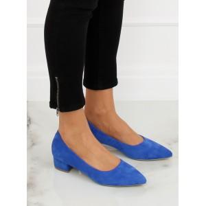 Semišové lodičky modré barvy na nízkém podpatku