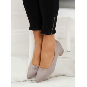 Pohodlné dámské lodičky na nízkém podpatku šedé barvy