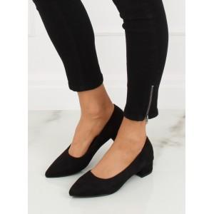 Elegantní lodičky černé barvy na nízkém podpatku