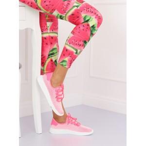 Růžové dámské tenisky se síťovinou bílé barvy