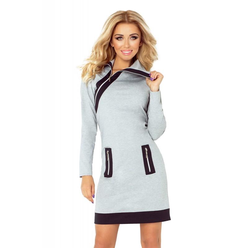 99409afff79e Šedé dámské mini šaty sportovní s kapsami a rolákem na zip