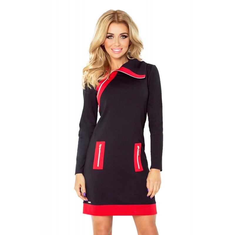 c7c0dc4cb077 Krátké sportovní dámské šaty v černo červené barvě s bočními kapsami