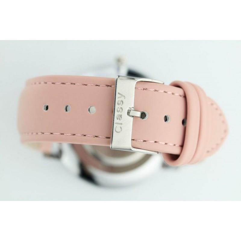 0b5e06743 Dámské stříbrné hodinky na ruku s designem růžového řemínku