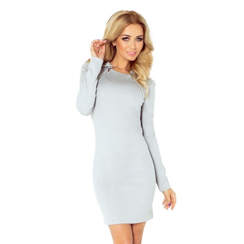 c3ff595a6 Úzké dámské mini šaty šedé barvy s dlouhým rukávem