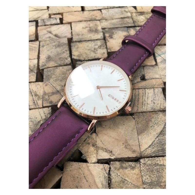 Stylové dámské hodinky s růžovým kovem a módním fialovým řemínkem a2ae9b4b6d