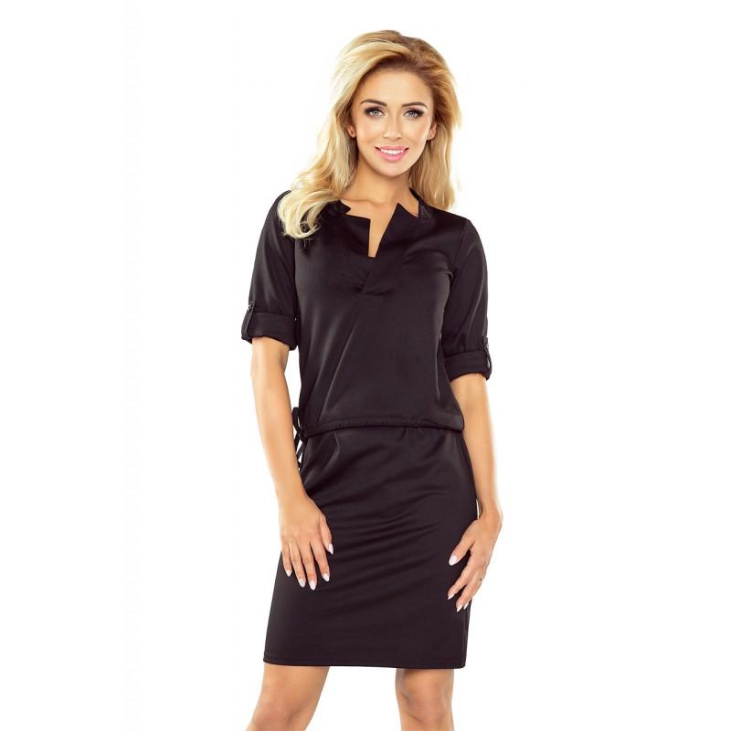 7b438663df77 Černé krátké šaty s výstřihem ve tvaru písmene V