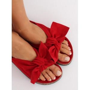 Pohodlné dámské korkové nazouváky červené barvy