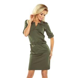 Khaki dámské krátké šaty na denní nošení