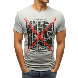 Pánské triko s krátkým rukávem s potiskem šedé