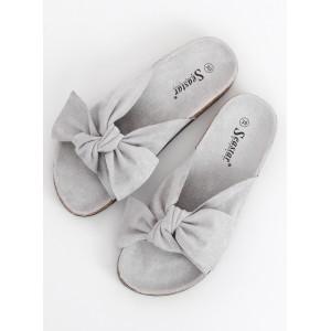 Elegantní dámské semišové nazouváky šedé barvy