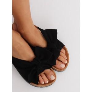 Pohodlné dámské mašličkové nazouváky černé barvy na léto