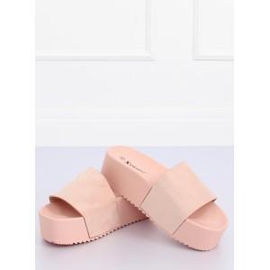 Módní dámské nazouváky na vysoké podrážce růžové barvy