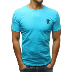 Moderní pánské tričko bez potisku s krátkým rukávem v modré barvě