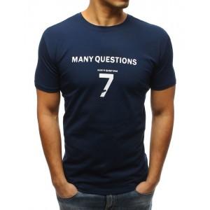 Modré pánské tričko s nápisem na hrudi