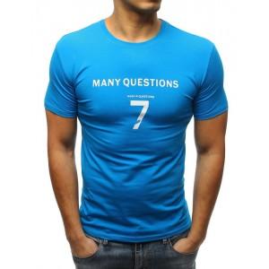 Pánské triko s nápisem v modré barvě