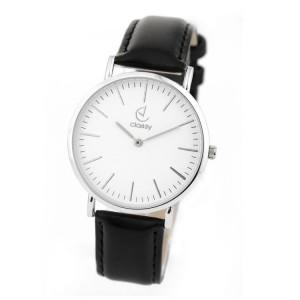 Elegantní černé dámské hodinky se stříbrným ciferníkem
