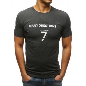 Tmavošedé tričko s krátkým rukávem a nápisem